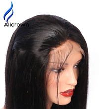 Alicrown Straight Lace Front Human Hair Wigs For Black Women Brazilian Remy Hair 8″-24″Pre Plucked Natural Hairline