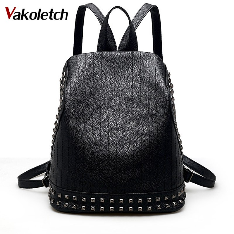 New Arrival Women Rivet Backpacks PU Leather Bags Daily Backpack Ladies Travel Bag Shoulder Bag Laptop Bolsas Softback KL157