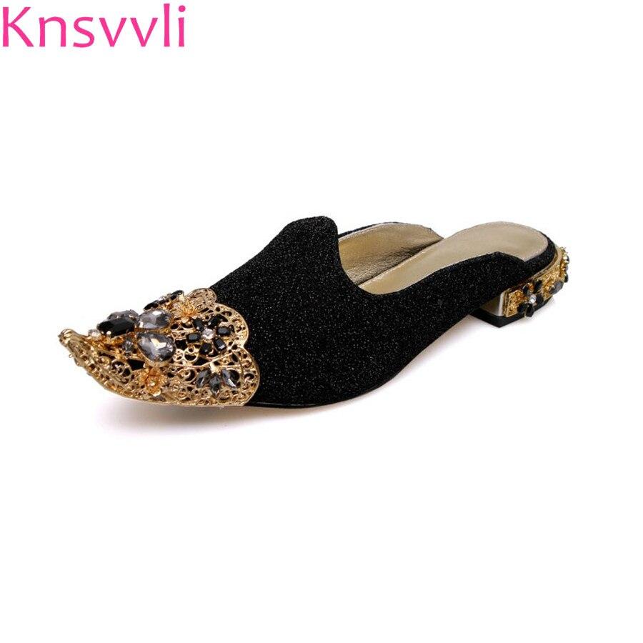 Spun ทองพลอยเทียมกลวงออกผู้หญิงรองเท้าแตะย้อนยุคพลอยตัวยึดโลหะของแท้รองเท้าหนังรองเท้าผู้หญิง-ใน รองเท้าใส่ในบ้าน จาก รองเท้า บน   1
