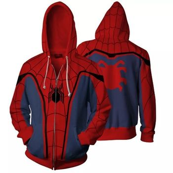 Spider-Man Hoodie Sweatshirt Marvel Movies Jacket Pullover Even Hat 3d 2019 New Style Clothes Oversized