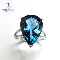 TBJ Big pear shape natural 8ct london blue topaz pe12*16 gemstone ring in 925 sterling silver jewelry,nice ring for lady as gift