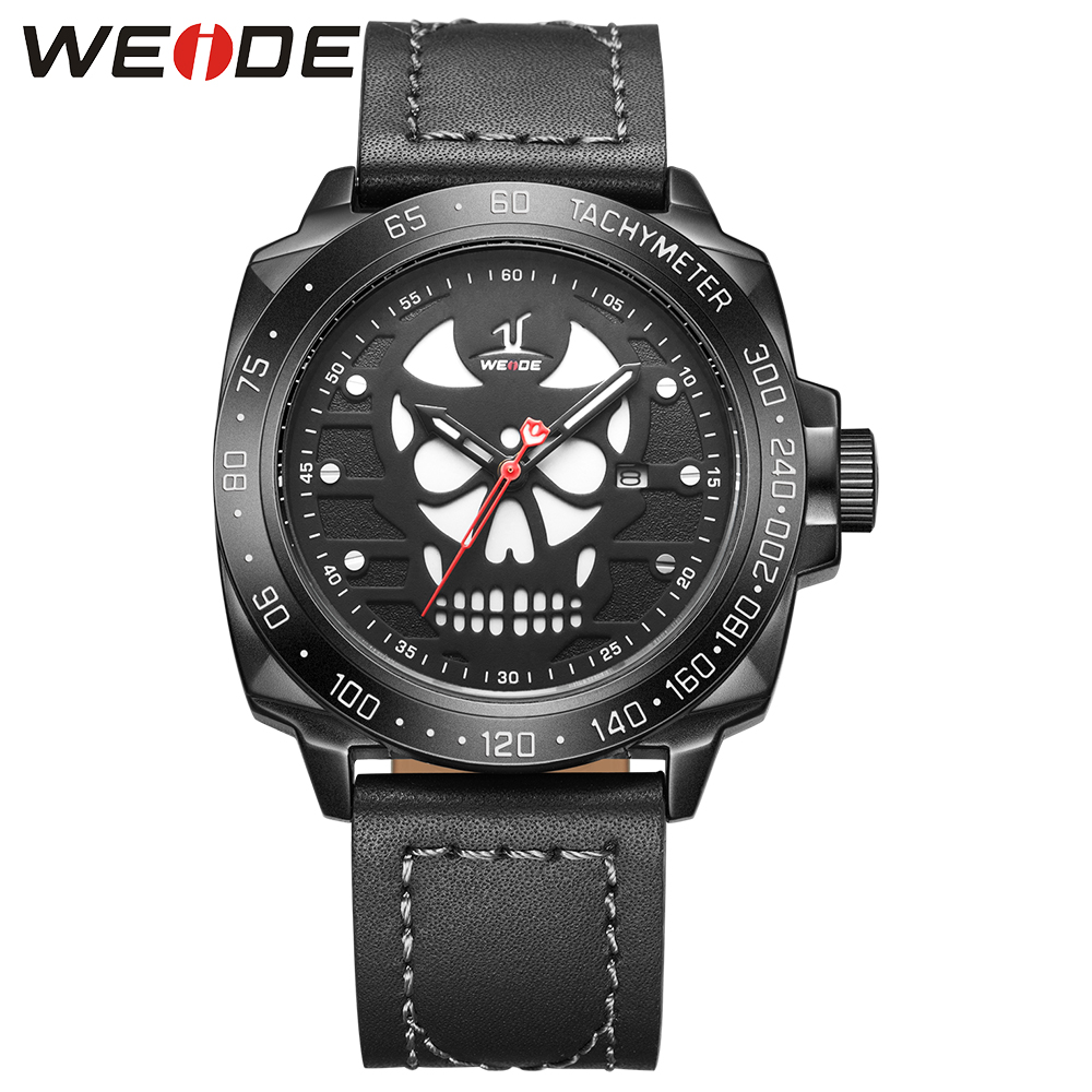 WEIDE Watch Men Leather Strap Cool Skull Dial Analog Display Date Clock Buckle Band Mens Casual Quartz Watch Relogio Masculino weide black watch men casual leather strap quartz yellow dial analog display water resistant big fashion high quality male clock