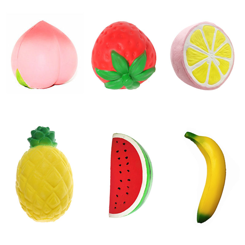 Cute Banana Lemon Water Melon Peach Strawberry Squishy Slow Rising Jumbo Simulation Fruit Phone Straps Soft Kid Fun Toy Gift slow rebound and decompression toy strawberry cake jumbo squishy