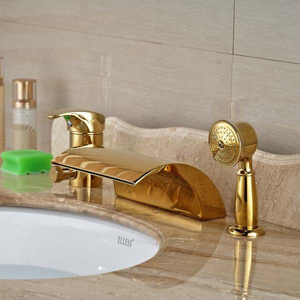 Здесь продается  Golden Brass Single Handle Waterfall Spout Bathroom Tub Faucet W/ Pull Out Hand Sprayer Mixer  Строительство и Недвижимость