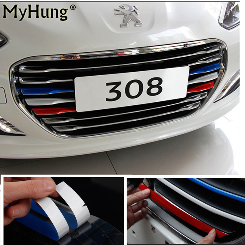 Hot Sale 3 Color Car Styling Front Reflective Strip Decal Vinyl Kidney Grille Sticker For Peugeot 308 Front Grille Strip Sticker grille