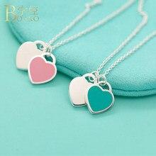 18de5be90d1d BOAKO moda azul Rosa dos collares pendientes del corazón del encanto del  diseño de marca collar de la aleación del esmalte para .