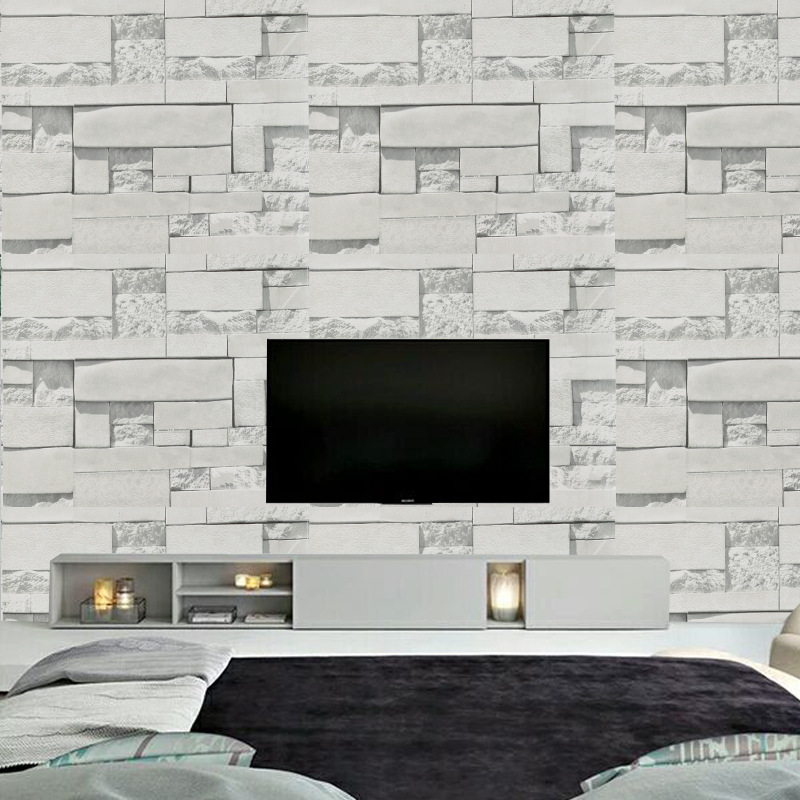 Modern Gray Brick Auspicious Wallpaper 3D PVC Waterproof Self Adhesive Wall Paper Living Room Bedroom TV Background Wall Decor