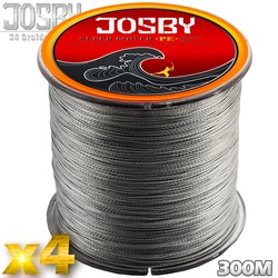JOSBY 4 Strands 300M PE Braided Fishing Line Sea Saltwater Carp Fishing Weave Superior Extreme Strong Fishing Accessories gray