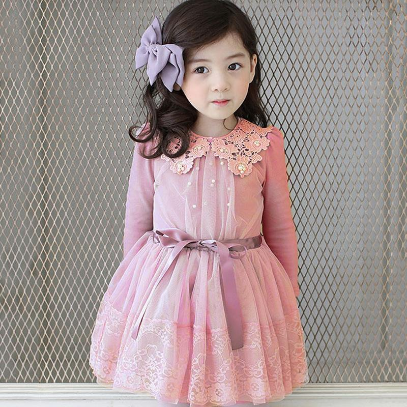 2016 Spring Winter Baby Flower Girls Lace Wedding Evening Party Tutu Dresses Children Princess Prom Dress Kids Girl Clothes girls dress 2017 new summer flower kids party dresses for wedding children s princess girl evening prom toddler beading clothes