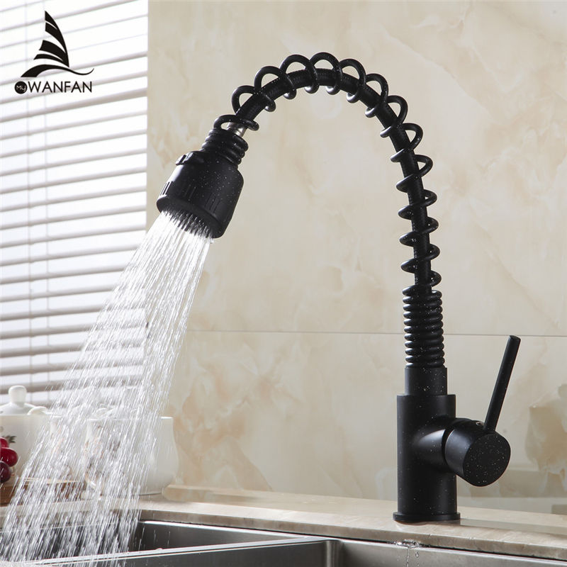 Kitchen Faucets Pull Out Black Crane Sink Swivel Faucet Mixer Tap 2-Function Water Outlet Cold Hot Griferia De Cocina GYD-7112RD double bowl stainless steel kitchen sink with faucet tap evier fregadero de la cocina disipador lavello della cucina spoelbak ke
