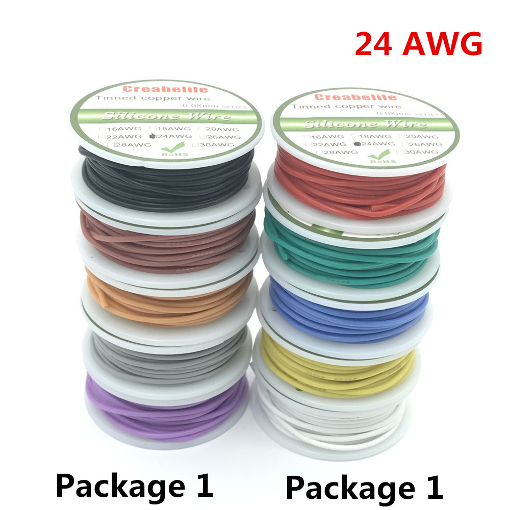 30m 24 AWG Flexible Silicone Wire RC Cable Line With 5 Colors to Select With Spool Package 1 or Package 2 1meter red 1meter black color silicon wire 10awg 12awg 14awg 16 awg flexible silicone wire for rc lipo battery connect cable
