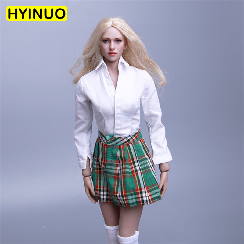 4 Colors 1/6 Scale Women Plaid Skirt Scottish Style <font><b>Sexy</b></font> Female Short Skirt Clothing Set For 12
