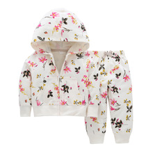 12M-3T Fashion Childrens Wear Girls Autumn and Winter Models Long-sleeved Zipper Hooded Floral Print Two-piece England Casual