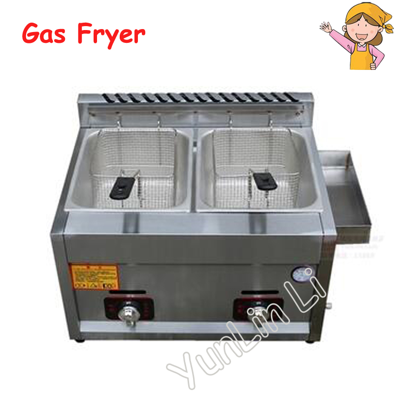 Two Tanks Gas Fryer Double-Cylinder Gas Frying Machine Energy Saving Fryer Stainless Steel French Fries Machine JX-11