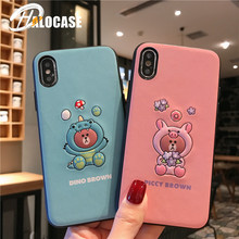 Luxury American Leather Sports Phone Case for iPhone X XS MAX XR 6 6s 7 8 Plus Brown Leather Bear Carving Case raika an 156 brown 2 75in x 4 125in leather gussetted card case brown