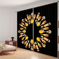 Modern Luxury champagne 3D Blackout Window Curtains For girls Bedding room Living room Hotel Drapes Cortinas