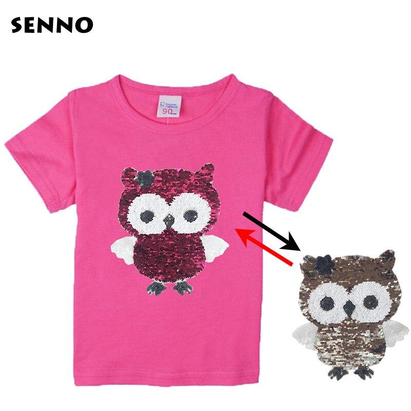 28f556758 Cambio de Color lentejuelas vuelta reversible lentejuelas t camisa camiseta  niños niñas camisetas con lentejuelas de doble cara top de lentejuelas