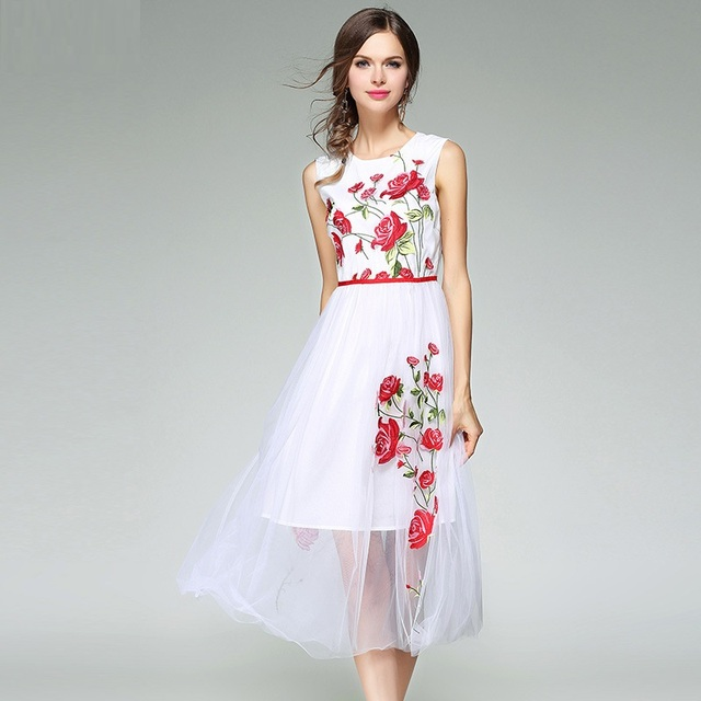 hot sale maxi long dresses 2017 new summer flowers Embroidery dress S XL  fashion Women Clothing Elegant Cute white party Dress 253a58ff0