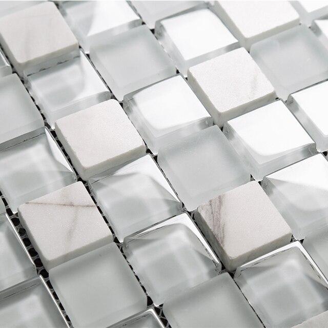 Weiß Kristall Glas Gemischten Steinmosaikfliesen EHM1068 Für Küche Backsplash  Fliesen Badezimmer Dusche Mosaik Fliesen Wandabdeckung