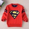 Roupas meninos camisola criança pullover outono e inverno 2016 super homem térmica o-pescoço camisola camisola do bebê