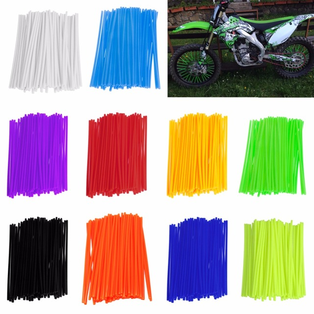 "72Pcs Wheel Spoke Skins Kit 18"" - 21"" Rims Guard Covers For HONDA CR YZ KX CRF Motorcycle Parts Handlebars Levers"