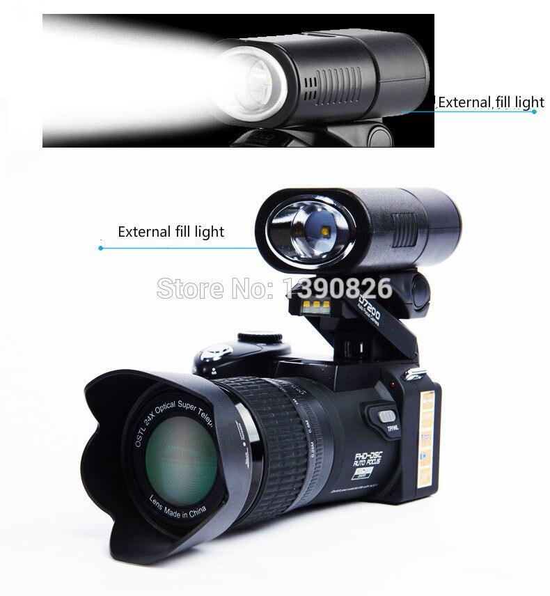 D7200 caméra vidéo numérique 33 millions de pixels caméra numérique professionnelle 24X caméra zoom optique plus lampe frontale à LED gratuit