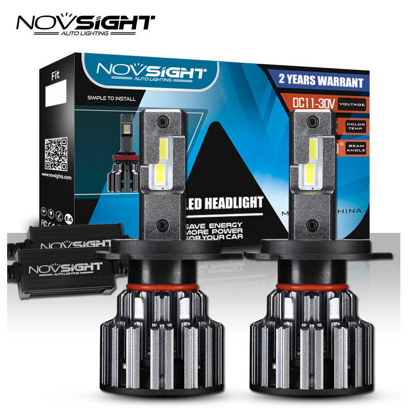 NOVSIGHT H4 Car LED Lamps Headlight H7 H11 9005 HB3 9006 HB4 Light Bulbs For Cars 15000LM 90W 6000K White 12V 24V Headlamp 2Pcs