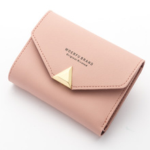 12PCS / LOT Women Wallet Short Small Leather Female Metal Design for Mini Clutch Ladies Purse Coin Card Holder