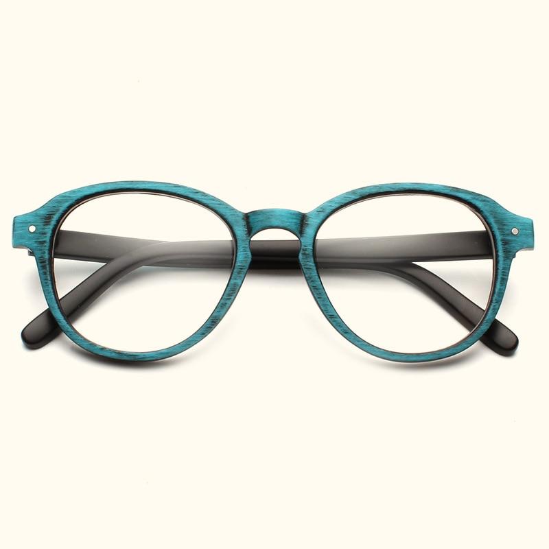 Round Eyeglasses Frames Clear Lens Retro Wood-like Optical Frame Prescription Glasses Vintage Spectacle Eyewear Frames Women Men