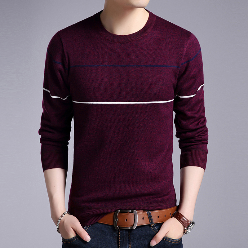2019 New Fashion Brand Sweaters Men Pullover O-Neck Slim Fit Jumpers Knitting Solid Color Winter Korean Style Casual Men Clothes