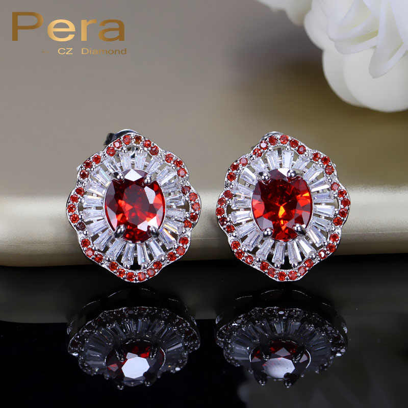 Pera Sparkling Big Flower Red Stone Silver Color Women Engagement Party Jewelry Round Cubic Zirconia Stud Earrings For Gift E276