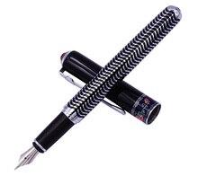 New Duke 103 Black Fountain Pen Fully Metal Ink Pen Beautiful Zebra Pattern Iridium Medium Nib Business Office Home Supplies цена 2017