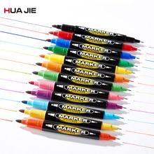 8/12 Pcs Dual Tip Permanente Teken Marker Pen Kind Tekening Schilderen Art Marker Kleurrijke Waterdichte Vette Marker Pen kantoorbenodigdheden