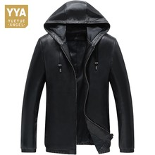 New Mens Spring Autumn Jacket Cap Zipper Sheepskin Coat For Men Blouson Moto Homme Chaqueta De Cuero Para Hombre Leather Jacket