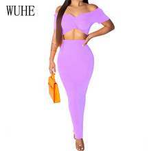WUHE New Brand Women Fashion Sexy Summer Party Dress Two Pieces Sets Hollow Out Off Shoulder Bodycon Pencil Slim Dress Vestidos женское платье dress new brand 2015 bodycon women dress