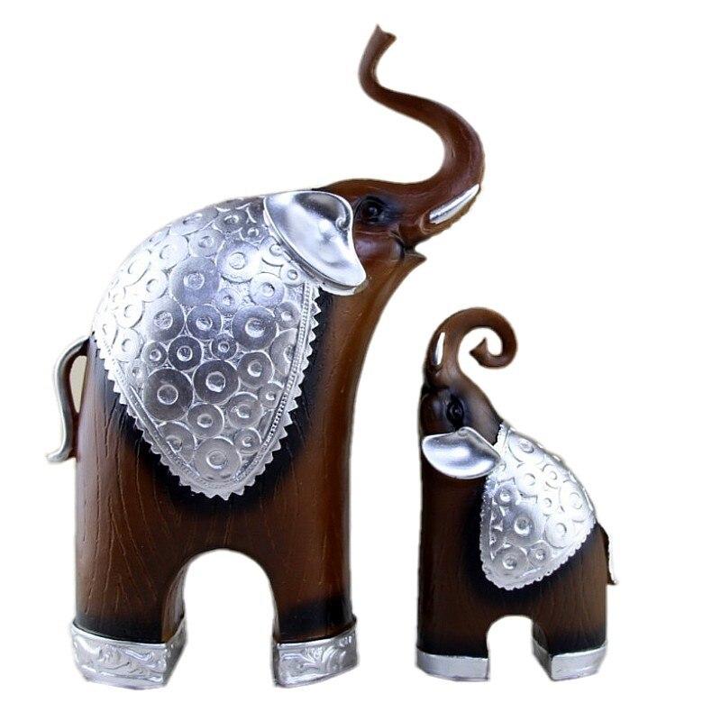 Vintage Home Decor Wood Grain Elephants Ornaments Miniature Antique Elephant Figurine Resin Decoration Retro Furnishings Gifts african elephant