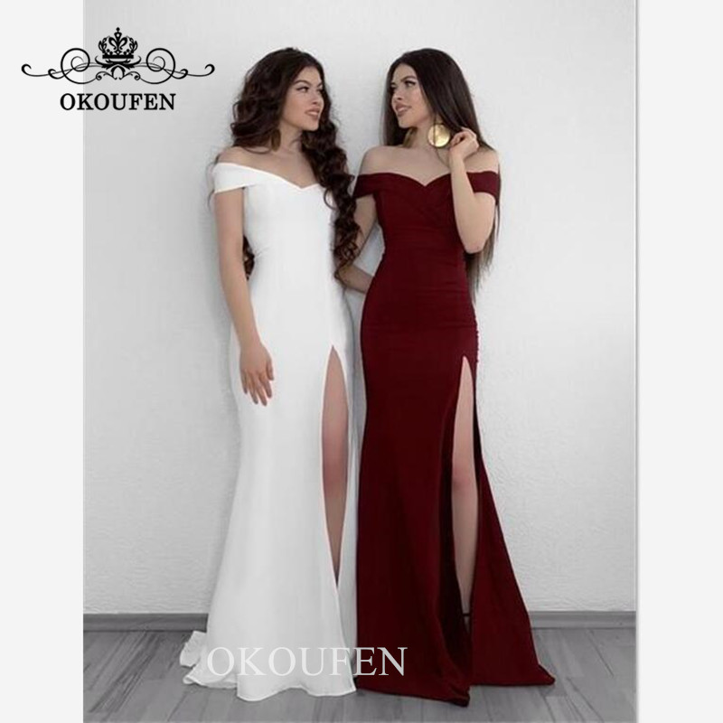Sexy Off Shoulder Mermaid   Bridesmaid     Dresses   Long 2019 Side Split Lace Up Back Wholesale Price Party   Dress   Gown