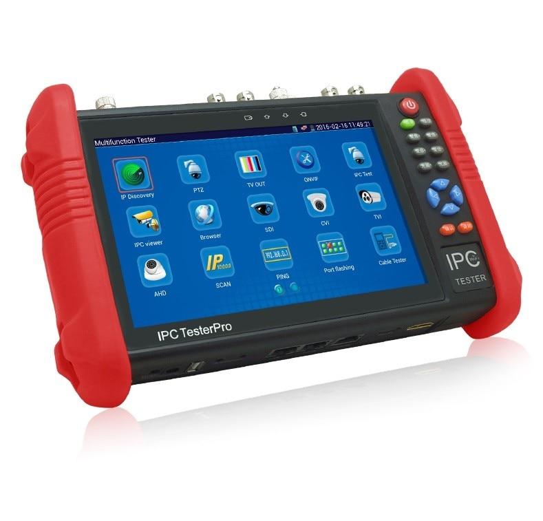 7 Inch CCTV Tester Monitor IP AHD CVI TVI SDI Analog Camera Test WIFI Onvif PTZ Control POE 12V Output