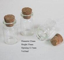 1000/lote botella de vidrio transparente de 6ml con tapa de corcho, viales de muestra pequeños de 1/4oz, contenedor de vidrio con tapón de corcho, 22*35*12,5mm