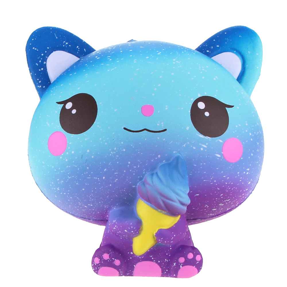 Jumbo Squishies Slow Rising Scented Ice Cream Cat Kawaii Squishy Stress Relief Toys Jumbo Decoration Squishy Fun Collection For Kids and Adult (Galaxy Blue) (5)