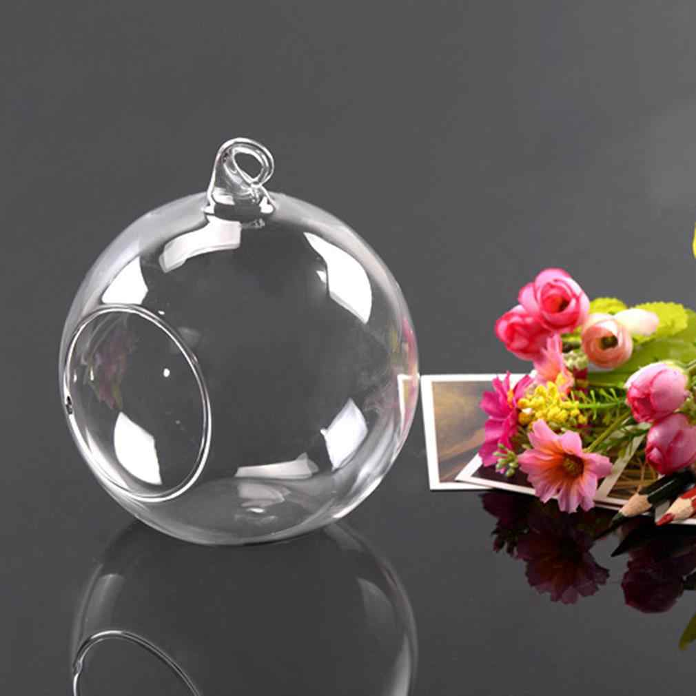 8 سنتيمتر الزجاج الجولة 1 حفرة المنزل زجاج معلق الزهور النبات زهرية حامل Terrarium الحاويات اليدوية الحرفية هدية الزفاف الديكور