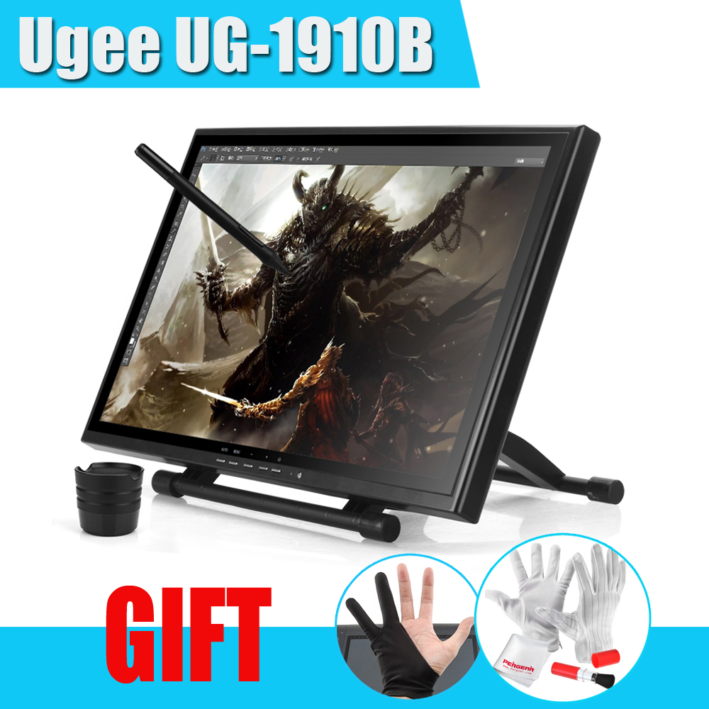UGEE UG-1910B Professional 19 LCD Graphic Monitor Art Graphic Tablet Drawing Digital Tablet Board USB Pen Drawing Pad Grafico ug1910b 19 inch graphic drawing tablet monitor pen drawing display tft lcd panel with 2 original rechargeable pen