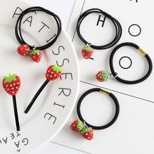 Cute Red And White Diamond Strawberry Fruit Three Rope Elastic Hair Ring Single Rope Tie Hair(China)