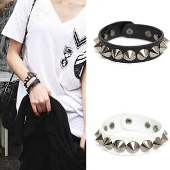 Punk Gothic Rock Faux Leather Rivet Bangle Wristband