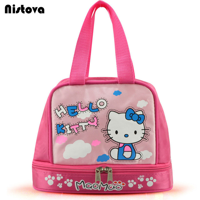 b1dbb991faf0 US $6.67 24% OFF|Hello Kitty Portable Dual Compartment Lunch Bag Insulated  Large Capacity with Zipper Kit for Kids Accessories Supplies Products-in ...