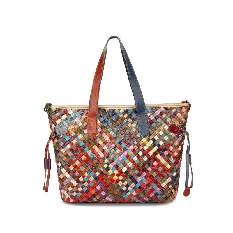 Genuine Leather Handmade Women s bag Knitted Colorful Shoulder Bag Strap satchel cow skin handbags