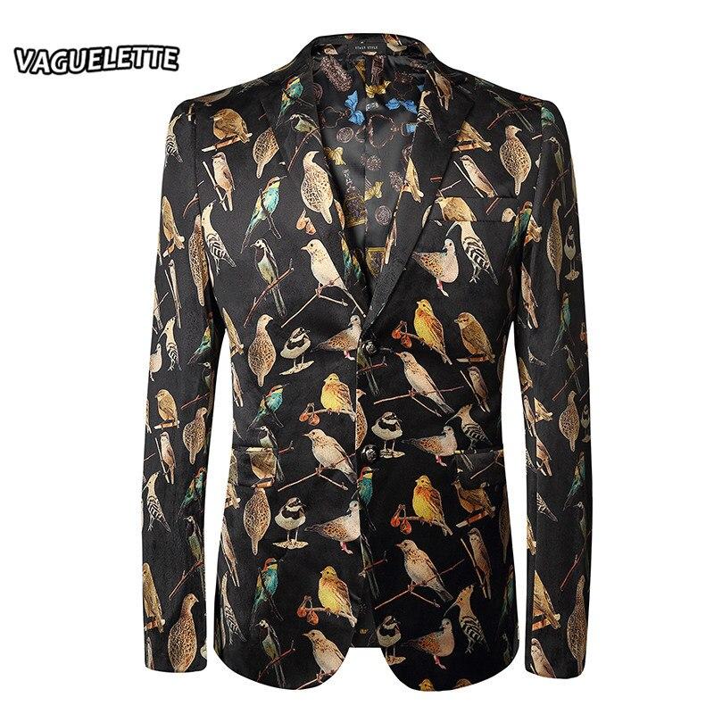 Plus Größe 3D Gedruckt Vögel Blazer Männer Giacca Uomo Elegante Slim Fit Anzug Jacke Stilvolle Beiläufige Hochzeit Männer Blazer Designs M 3XL