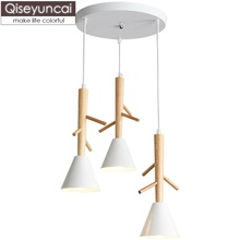 Qiseyuncai Nordic modern 3 head wooden art restaurant chandelier simple bar table dining table chandelier log bedroom study lamp restaurant crystal chandelier table three rectangular simple modern dining room chandelier fashion bar table led lighting lamps