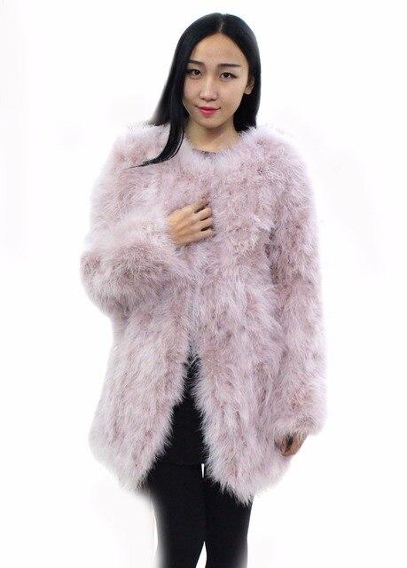 Ostrich hair coat 2016Fashion style  90cm long