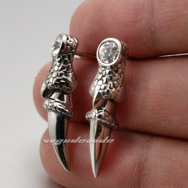 316L Stainless Steel Dragon Claw CZ Mens Stud Earring 2R064(2 Pieces)